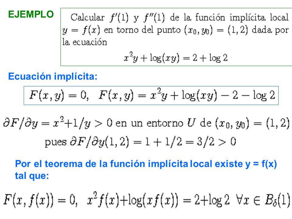 EJEMPLO Ecuación implícita: Por el teorema de la función implícita local existe y = f(x) tal que: