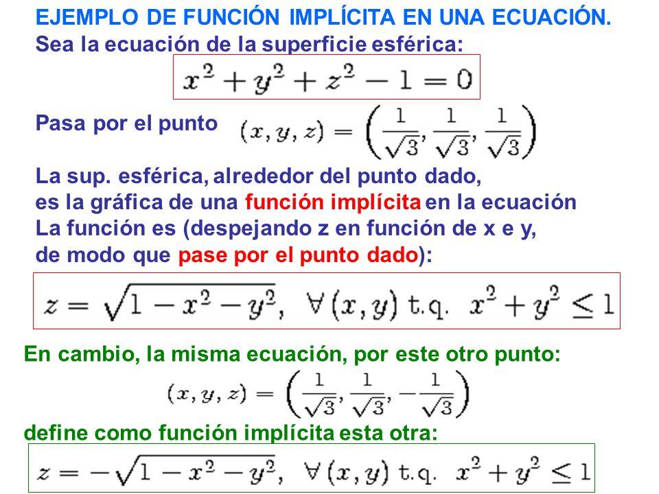 EJEMPLO DE FUNCIÓN IMPLÍCITA EN UNA ECUACIÓN. Sea la ecuación de la superficie esférica: Pasa por el punto La sup. esférica, alrededor del punto dado,