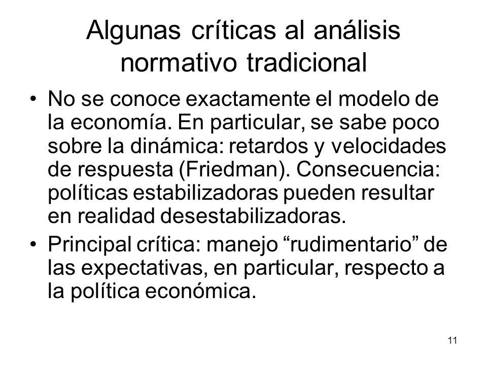11 Algunas críticas al análisis normativo tradicional No se conoce exactamente el modelo de la economía. En particular, se sabe poco sobre la dinámica
