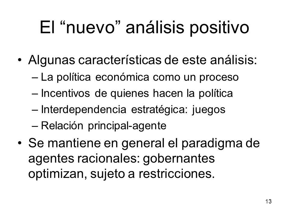 13 El nuevo análisis positivo Algunas características de este análisis: –La política económica como un proceso –Incentivos de quienes hacen la polític