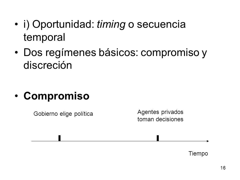 16 i) Oportunidad: timing o secuencia temporal Dos regímenes básicos: compromiso y discreción Compromiso Gobierno elige política Agentes privados toma