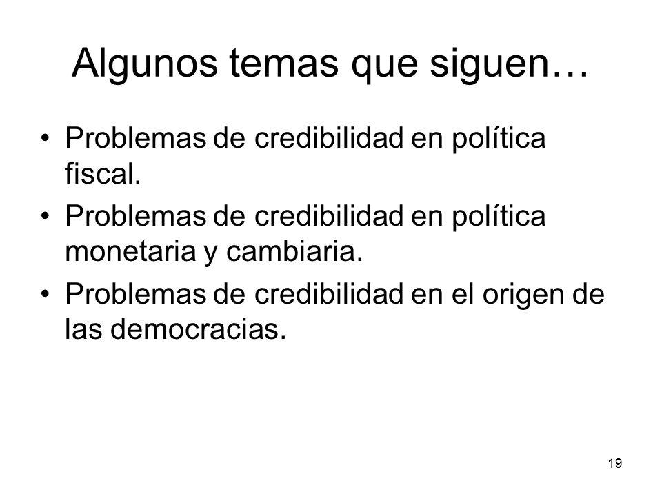 19 Algunos temas que siguen… Problemas de credibilidad en política fiscal. Problemas de credibilidad en política monetaria y cambiaria. Problemas de c