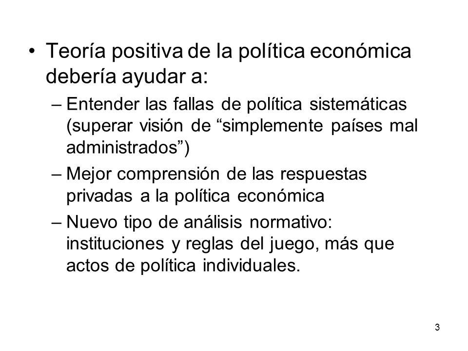 3 Teoría positiva de la política económica debería ayudar a: –Entender las fallas de política sistemáticas (superar visión de simplemente países mal a