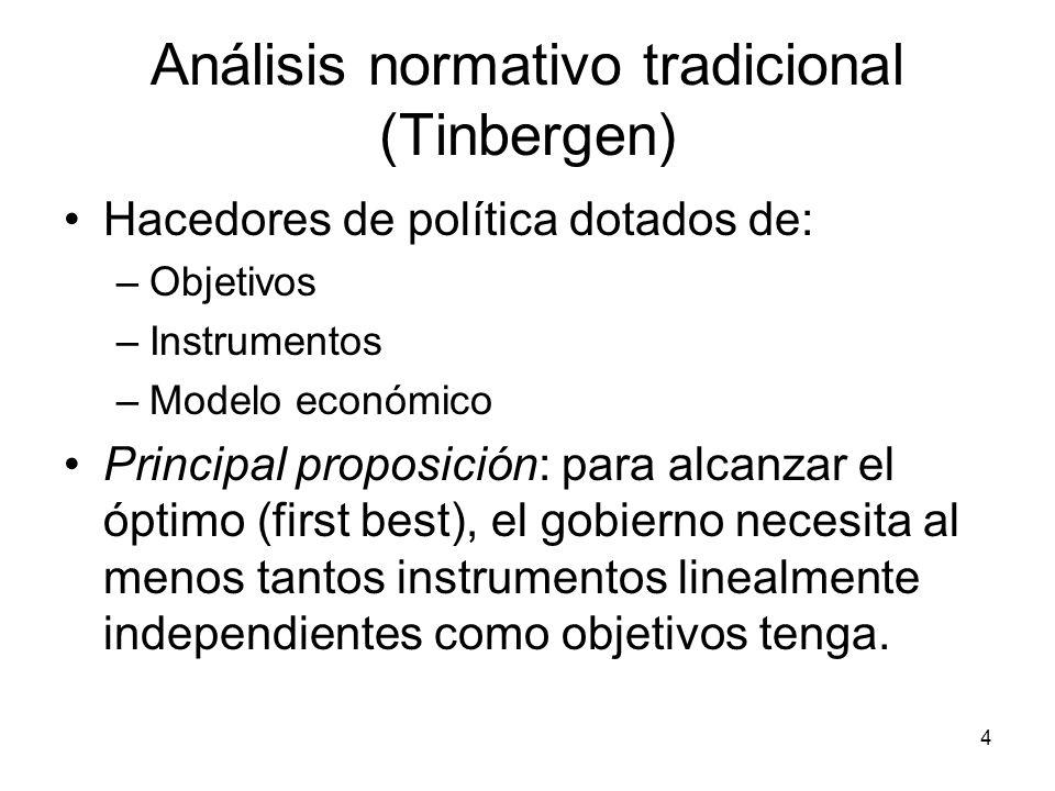 4 Análisis normativo tradicional (Tinbergen) Hacedores de política dotados de: –Objetivos –Instrumentos –Modelo económico Principal proposición: para