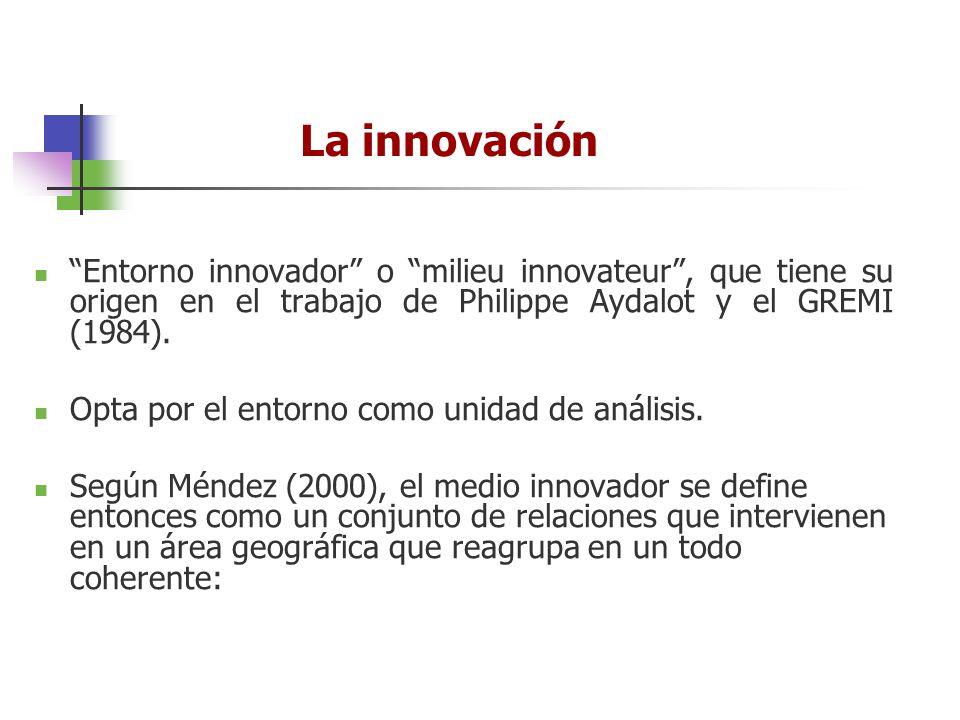 La innovación Entorno innovador o milieu innovateur, que tiene su origen en el trabajo de Philippe Aydalot y el GREMI (1984). Opta por el entorno como