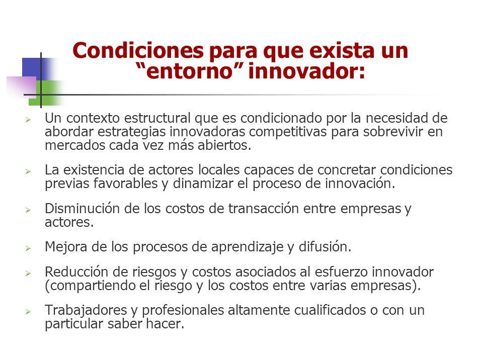 Condiciones para que exista un entorno innovador: Un contexto estructural que es condicionado por la necesidad de abordar estrategias innovadoras comp