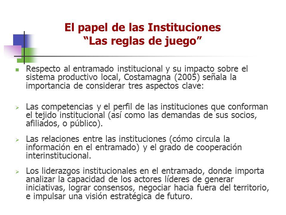 Respecto al entramado institucional y su impacto sobre el sistema productivo local, Costamagna (2005) señala la importancia de considerar tres aspecto