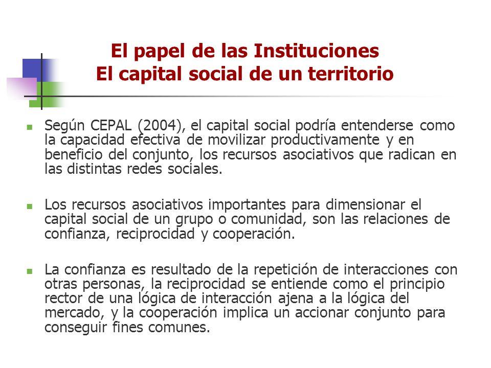 Según CEPAL (2004), el capital social podría entenderse como la capacidad efectiva de movilizar productivamente y en beneficio del conjunto, los recur