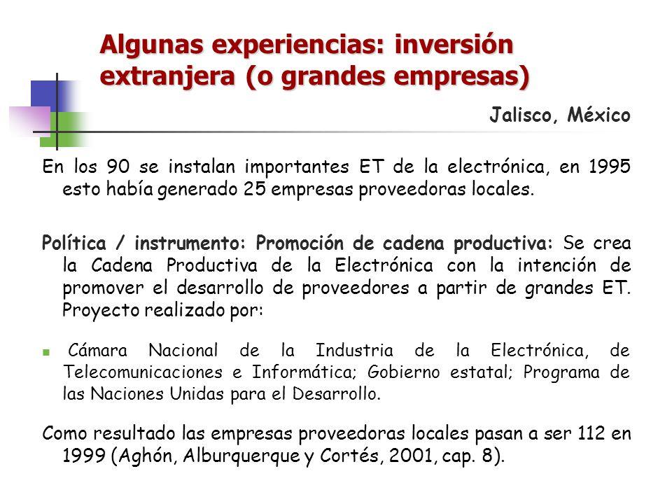 Algunas experiencias: inversión extranjera (o grandes empresas) Jalisco, México En los 90 se instalan importantes ET de la electrónica, en 1995 esto h