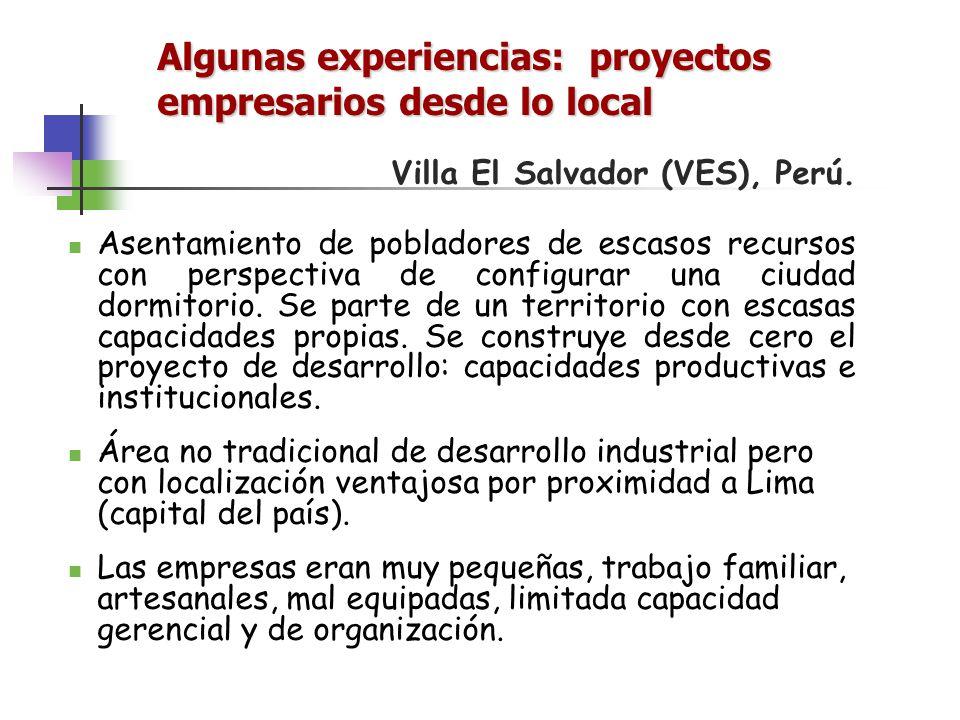 Algunas experiencias: proyectos empresarios desde lo local Villa El Salvador (VES), Perú. Asentamiento de pobladores de escasos recursos con perspecti