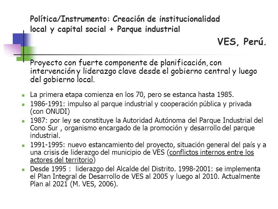 Política/Instrumento: Creación de institucionalidad local y capital social + Parque industrial VES, Perú. Proyecto con fuerte componente de planificac