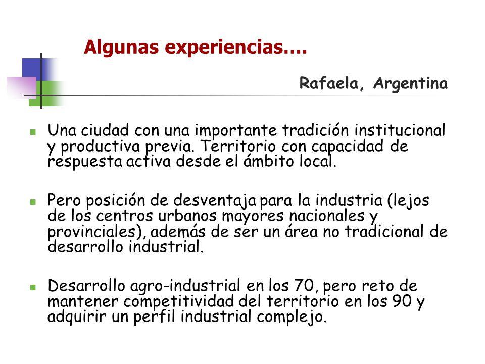 Algunas experiencias…. Rafaela, Argentina Una ciudad con una importante tradición institucional y productiva previa. Territorio con capacidad de respu