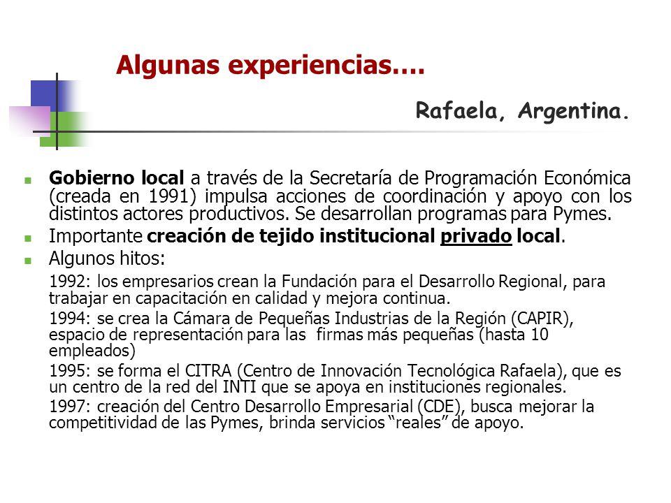 Rafaela, Argentina. Gobierno local a través de la Secretaría de Programación Económica (creada en 1991) impulsa acciones de coordinación y apoyo con l