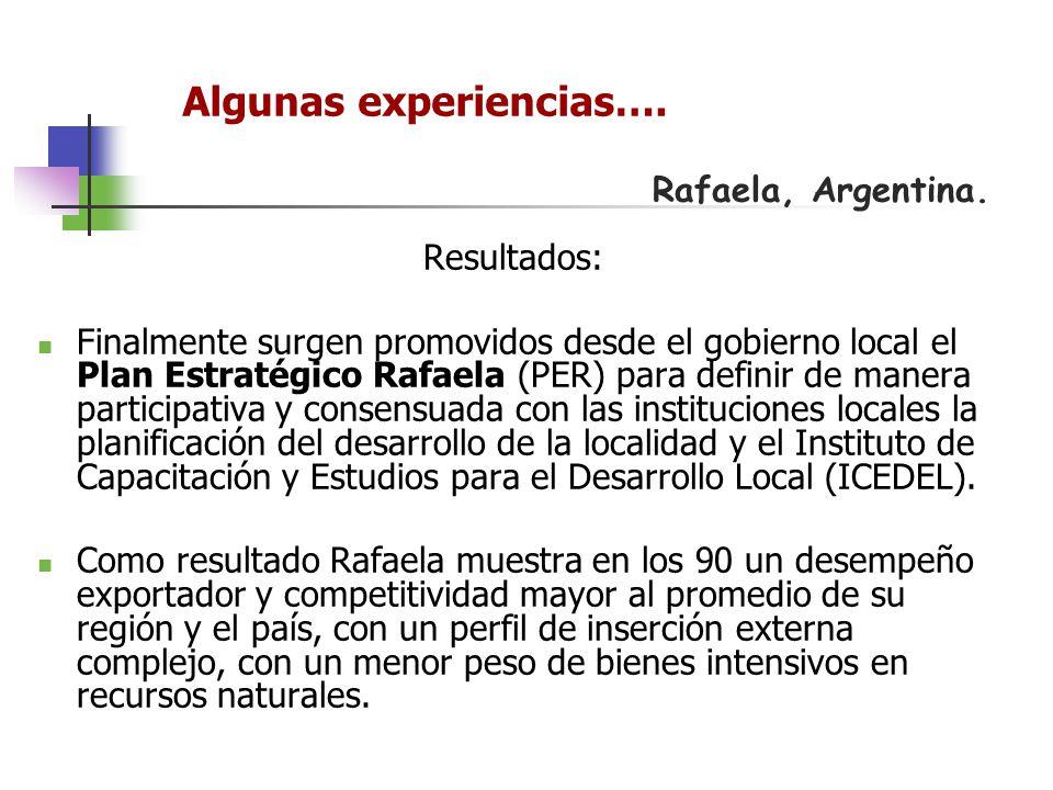 Rafaela, Argentina. Resultados: Finalmente surgen promovidos desde el gobierno local el Plan Estratégico Rafaela (PER) para definir de manera particip