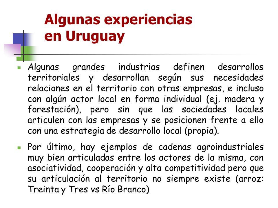 Algunas experiencias en Uruguay Algunas grandes industrias definen desarrollos territoriales y desarrollan según sus necesidades relaciones en el terr