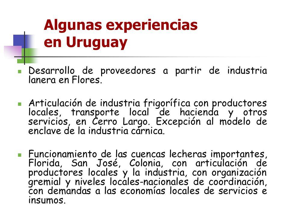 Algunas experiencias en Uruguay Desarrollo de proveedores a partir de industria lanera en Flores. Articulación de industria frigorífica con productore