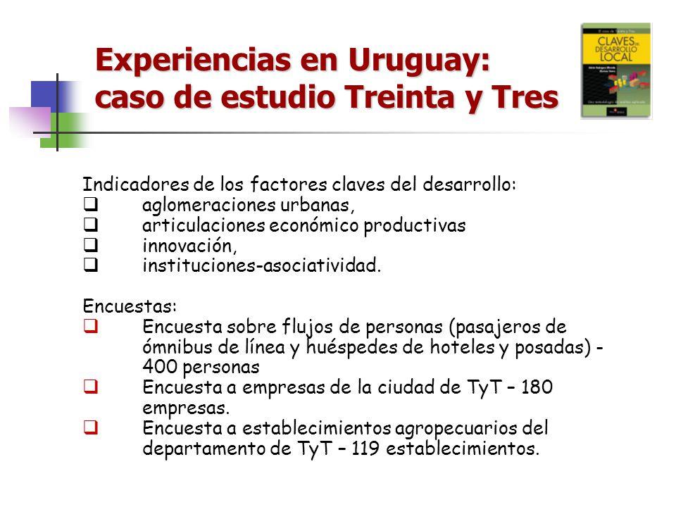 Experiencias en Uruguay: caso de estudio Treinta y Tres Indicadores de los factores claves del desarrollo: aglomeraciones urbanas, articulaciones econ
