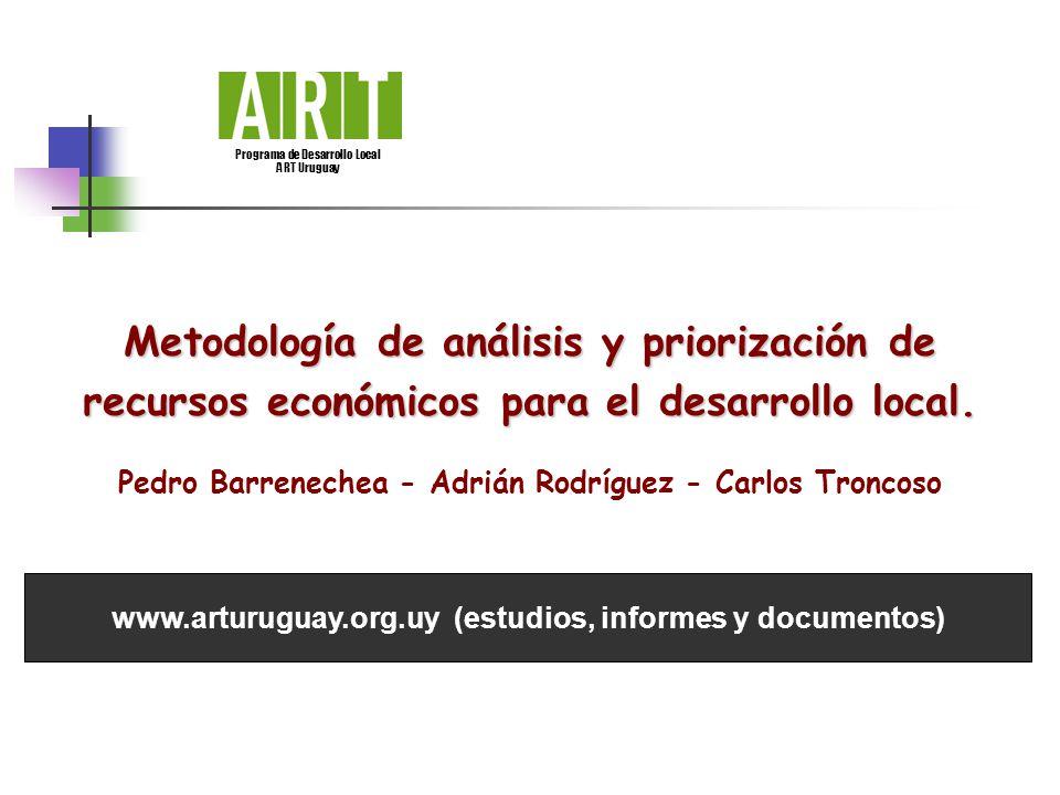 Metodología de análisis y priorización de recursos económicos para el desarrollo local. Pedro Barrenechea - Adrián Rodríguez - Carlos Troncoso Program