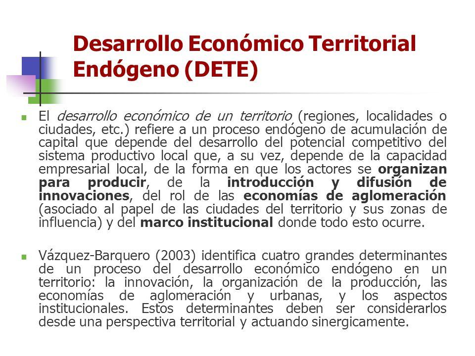 El desarrollo económico de un territorio (regiones, localidades o ciudades, etc.) refiere a un proceso endógeno de acumulación de capital que depende