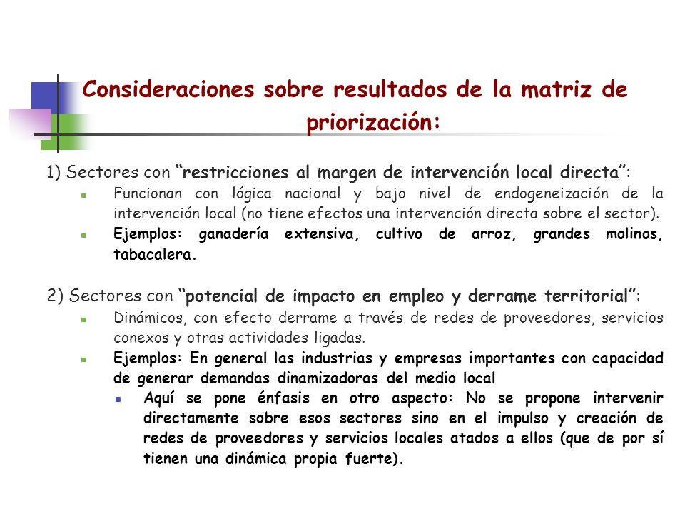 Consideraciones sobre resultados de la matriz de priorización: 1) Sectores con restricciones al margen de intervención local directa: Funcionan con ló