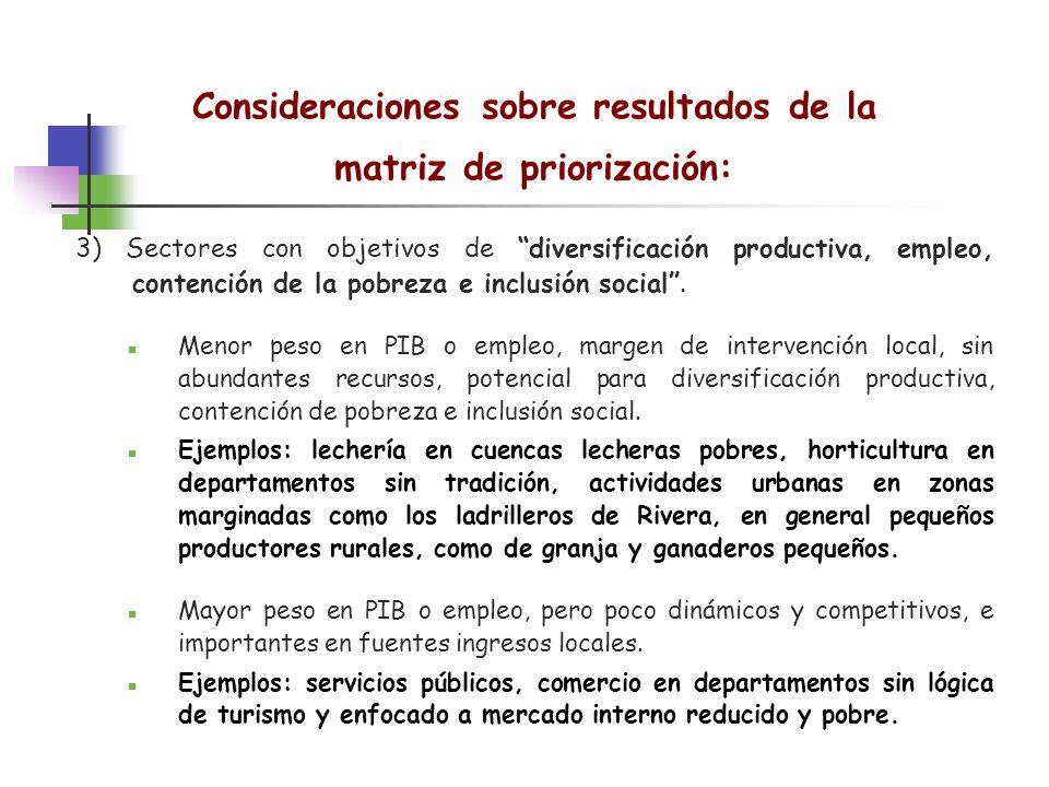 Consideraciones sobre resultados de la matriz de priorización: 3) Sectores con objetivos de diversificación productiva, empleo, contención de la pobre