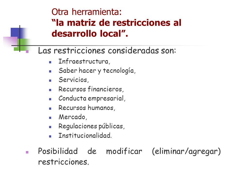 Las restricciones consideradas son: Infraestructura, Saber hacer y tecnología, Servicios, Recursos financieros, Conducta empresarial, Recursos humanos