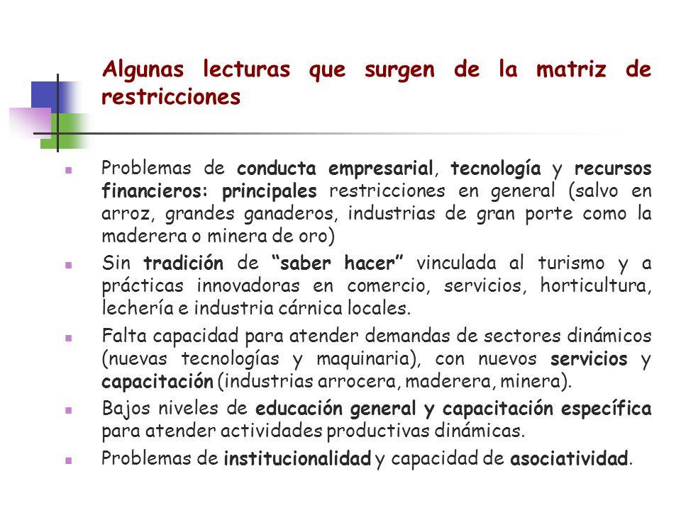Algunas lecturas que surgen de la matriz de restricciones Problemas de conducta empresarial, tecnología y recursos financieros: principales restriccio