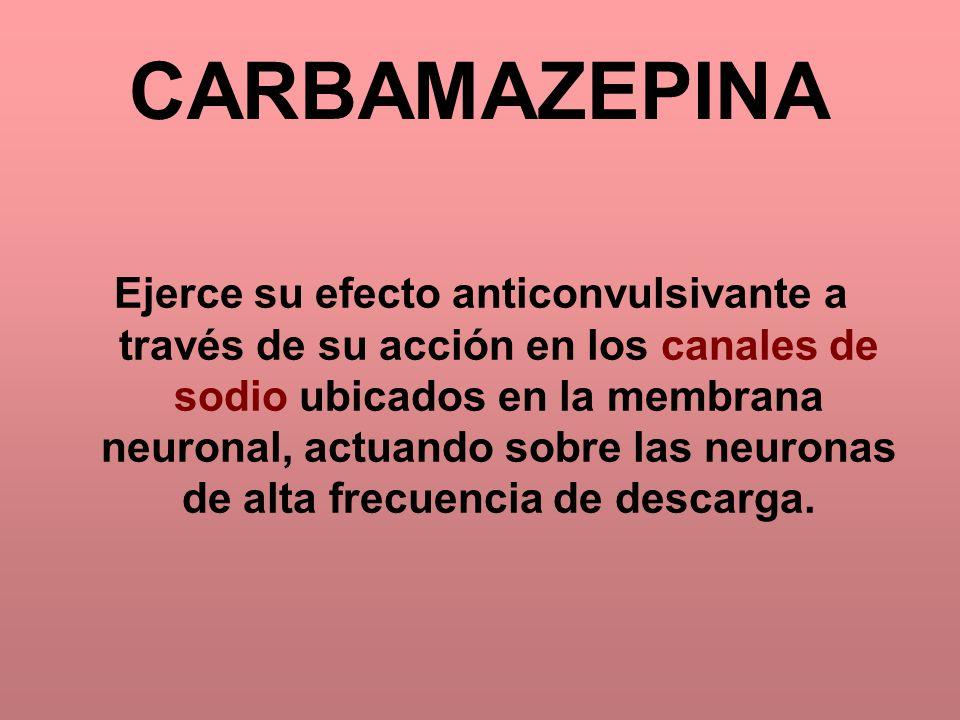 CARBAMAZEPINA Ejerce su efecto anticonvulsivante a través de su acción en los canales de sodio ubicados en la membrana neuronal, actuando sobre las ne