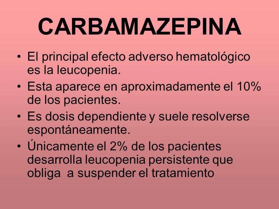 El principal efecto adverso hematológico es la leucopenia. Esta aparece en aproximadamente el 10% de los pacientes. Es dosis dependiente y suele resol