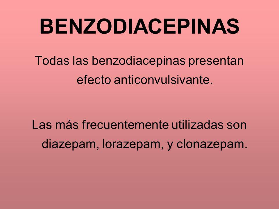 BENZODIACEPINAS Todas las benzodiacepinas presentan efecto anticonvulsivante. Las más frecuentemente utilizadas son diazepam, lorazepam, y clonazepam.