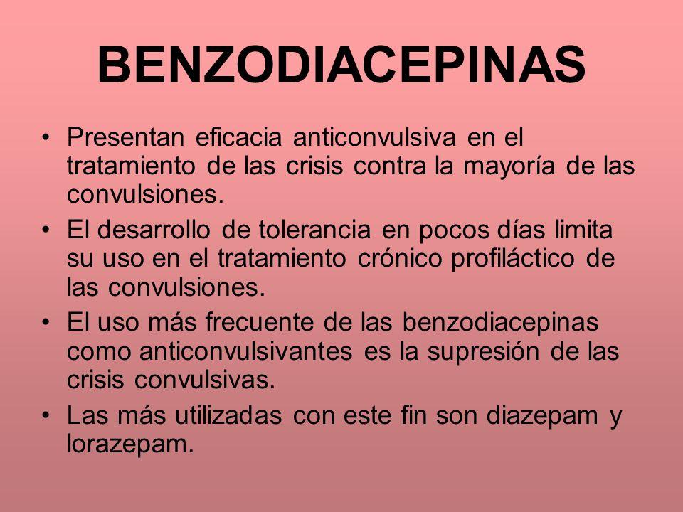 BENZODIACEPINAS Presentan eficacia anticonvulsiva en el tratamiento de las crisis contra la mayoría de las convulsiones. El desarrollo de tolerancia e