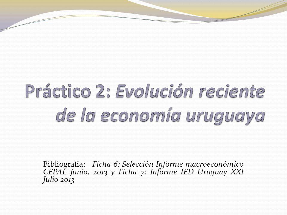 Bibliografía: Ficha 6: Selección Informe macroeconómico CEPAL Junio, 2013 y Ficha 7: Informe IED Uruguay XXI Julio 2013