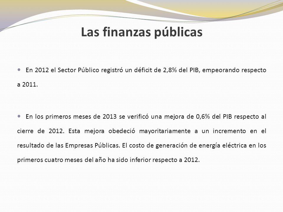 Las finanzas públicas En 2012 el Sector Público registró un déficit de 2,8% del PIB, empeorando respecto a 2011.
