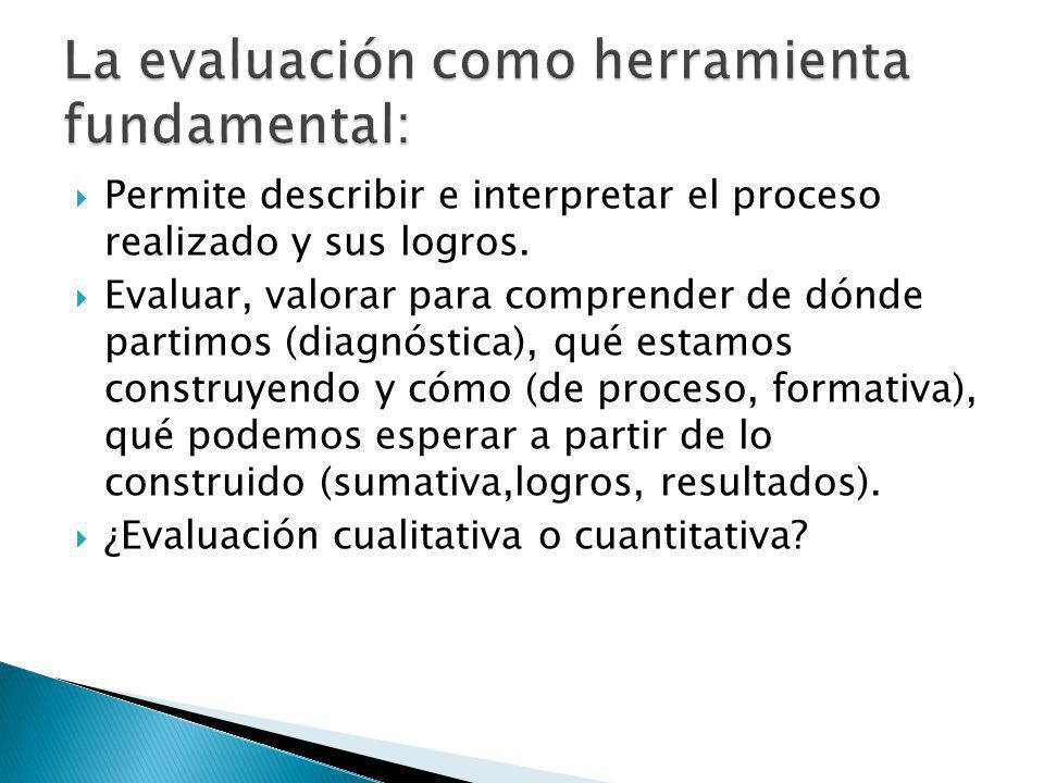 Permite describir e interpretar el proceso realizado y sus logros.