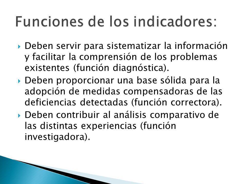 Deben servir para sistematizar la información y facilitar la comprensión de los problemas existentes (función diagnóstica).