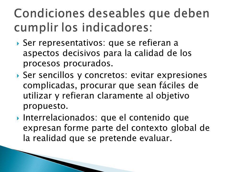 Ser representativos: que se refieran a aspectos decisivos para la calidad de los procesos procurados.