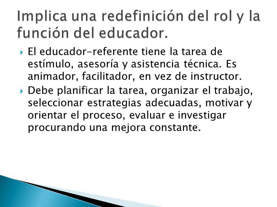 El educador-referente tiene la tarea de estímulo, asesoría y asistencia técnica.