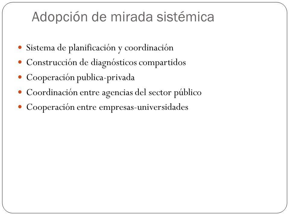 Adopción de mirada sistémica Sistema de planificación y coordinación Construcción de diagnósticos compartidos Cooperación publica-privada Coordinación