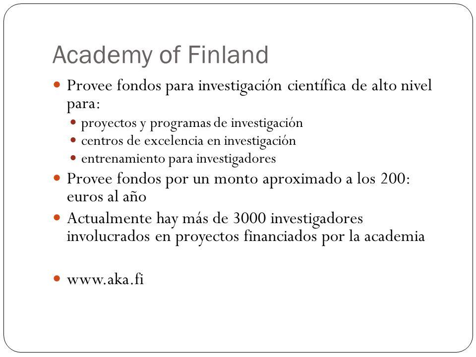 Academy of Finland Provee fondos para investigación científica de alto nivel para: proyectos y programas de investigación centros de excelencia en inv