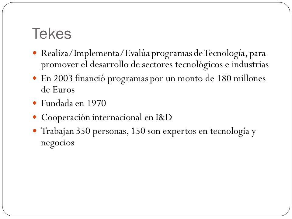 Tekes Realiza/Implementa/Evalúa programas de Tecnología, para promover el desarrollo de sectores tecnológicos e industrias En 2003 financió programas