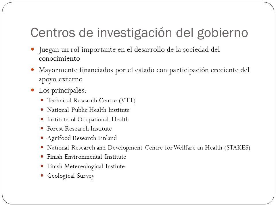 Centros de investigación del gobierno Juegan un rol importante en el desarrollo de la sociedad del conocimiento Mayormente financiados por el estado c