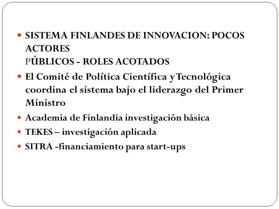 SISTEMA FINLANDES DE INNOVACION: POCOS ACTORES PÚBLICOS - ROLES ACOTADOS El Comité de Política Científica y Tecnológica coordina el sistema bajo el li