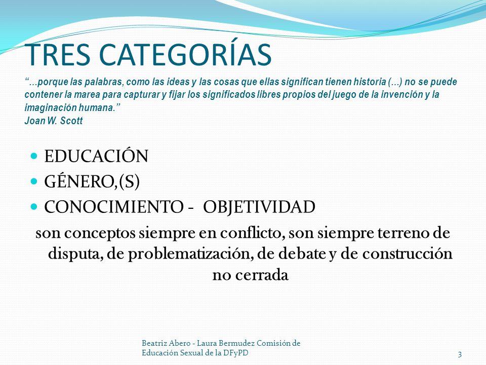 CAMPO EDUCATIVO CONFLICTO - TENSIÓN DETERMINADO POR UN CONJUNTO DE VARIABLES EN TENSIÓN Y CONFLICTO SU CONFIGURACIÓN Y CONSTRUCCIÓN ES HISTÓRICA LOS AGENTES QUE ACTUAN EN ÉL ESTÁN IMPLICADOS EN SU CONFIGURACIÓN Beatriz Abero - Laura Bermudez Comisión de Educación Sexual de la DFyPD4