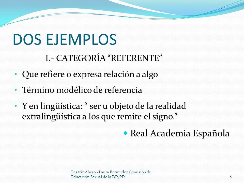 DOS EJEMPLOS I.- CATEGORÍA REFERENTE Que refiere o expresa relación a algo Término modélico de referencia Y en lingüística: ser u objeto de la realidad extralingüística a los que remite el signo.