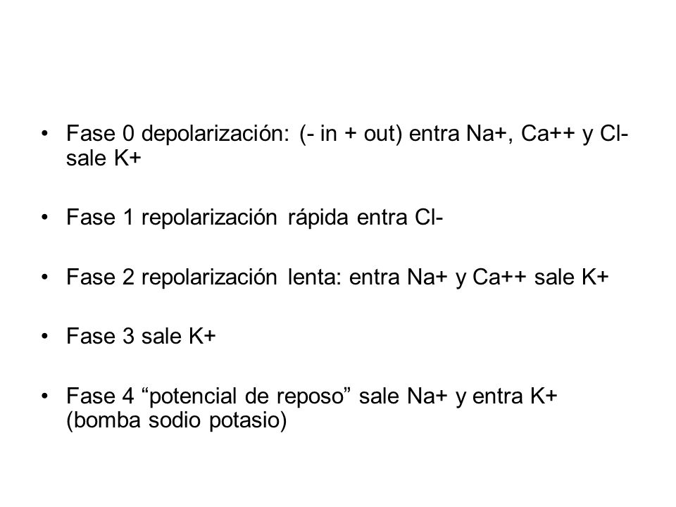 Fase 0 depolarización: (- in + out) entra Na+, Ca++ y Cl- sale K+ Fase 1 repolarización rápida entra Cl- Fase 2 repolarización lenta: entra Na+ y Ca++ sale K+ Fase 3 sale K+ Fase 4 potencial de reposo sale Na+ y entra K+ (bomba sodio potasio)
