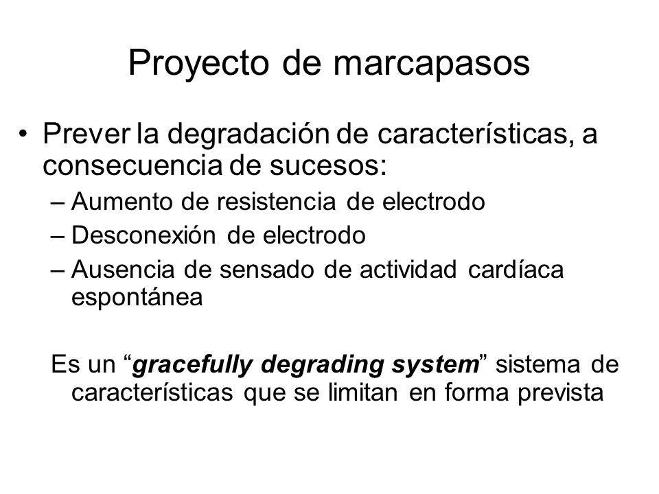 Proyecto de marcapasos Prever la degradación de características, a consecuencia de sucesos: –Aumento de resistencia de electrodo –Desconexión de electrodo –Ausencia de sensado de actividad cardíaca espontánea Es un gracefully degrading system sistema de características que se limitan en forma prevista
