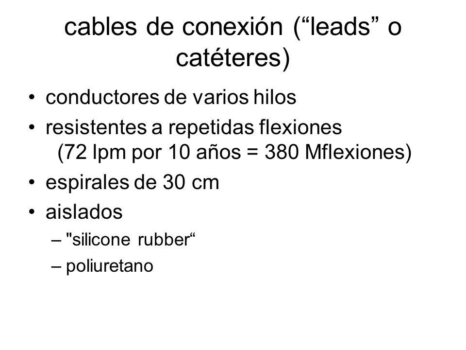 cables de conexión (leads o catéteres) conductores de varios hilos resistentes a repetidas flexiones (72 lpm por 10 años = 380 Mflexiones) espirales de 30 cm aislados – silicone rubber –poliuretano