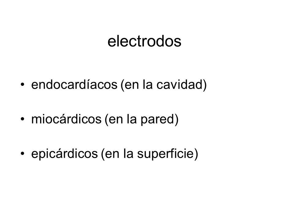 electrodos endocardíacos (en la cavidad) miocárdicos (en la pared) epicárdicos (en la superficie)