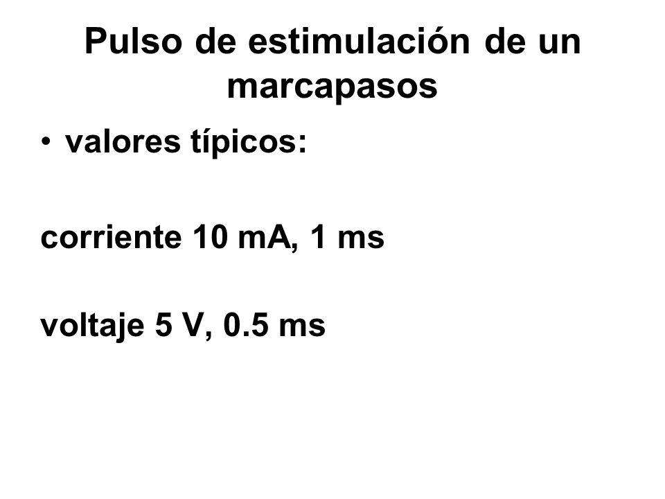 Pulso de estimulación de un marcapasos valores típicos: corriente 10 mA, 1 ms voltaje 5 V, 0.5 ms