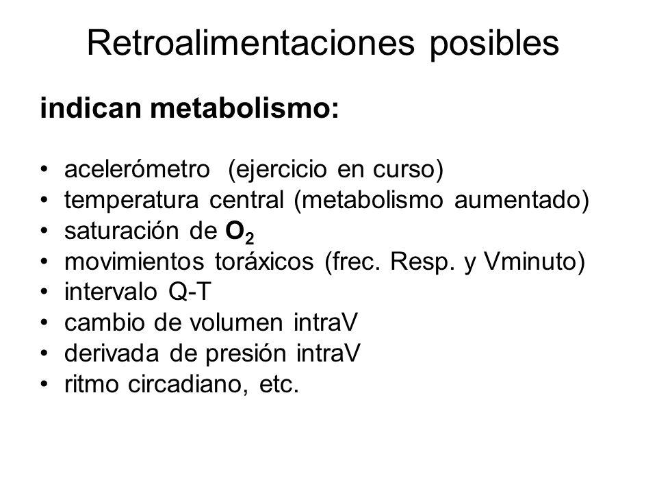 Retroalimentaciones posibles indican metabolismo: acelerómetro (ejercicio en curso) temperatura central (metabolismo aumentado) saturación de O 2 movimientos toráxicos (frec.